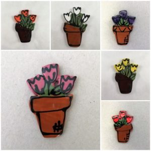 MOSAIC INSPIRATION Ceramic Tulips in Pot Ceramic Flower Mosaic Inserts Ceramic Mosaic Tiles www.mosaicinspiration.com