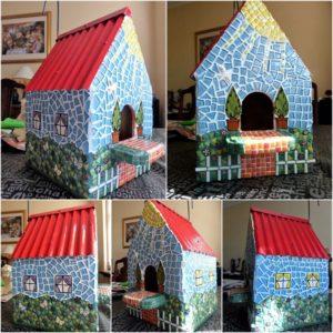 MOSAIC INSPIRATION Cheryls Birdhouse using ceramic inserts trees windows butterflies bird www.mosaicinspiration