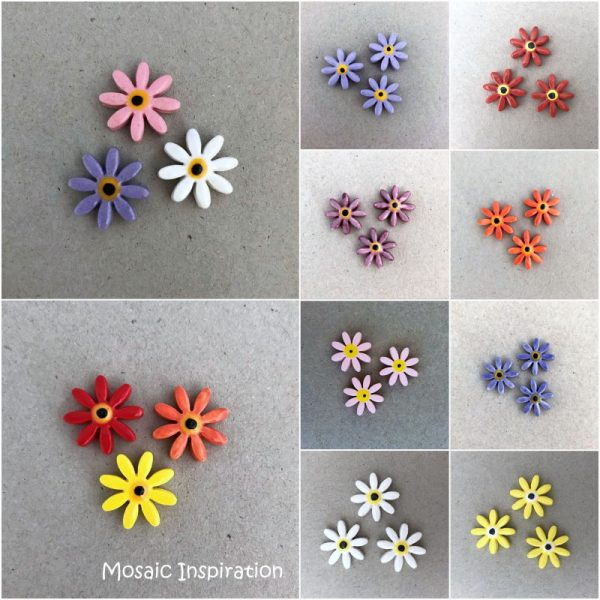 MOSAIC INSPIRATION 17mm Ceramic Daisies Ceramic Flowers Mosaic Tiles Mosaic Inserts www.mosaicinspiration.com