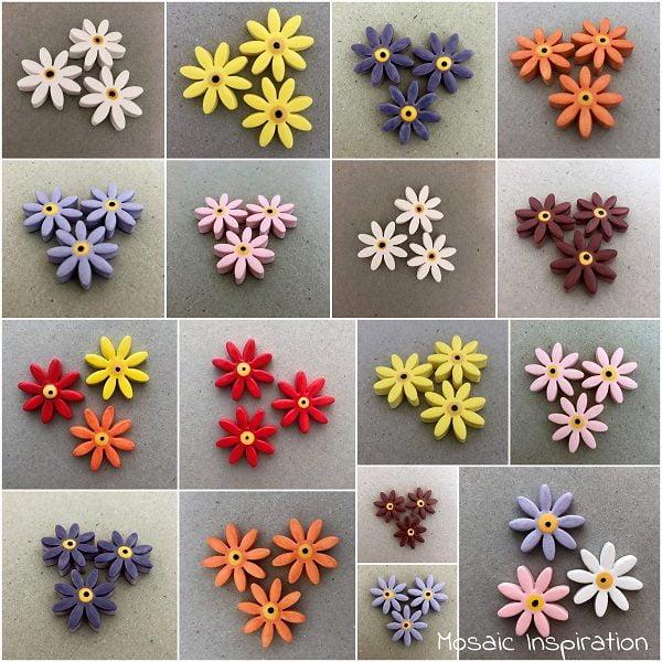 MOSAIC INSPIRATION Ceramic Daisies Ceramic Flowers Mosaic Tiles Mosaic Inserts www.mosaicinspiration.com