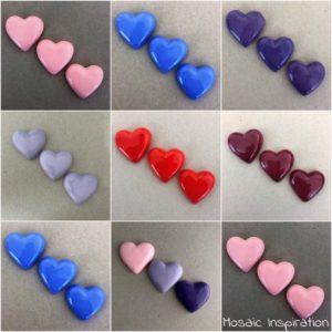MOSAIC INSPIRATION 30x35mm Ceramic Hearts Ceramic Embellishments Mosaic Inserts www.mosaicinspiration.com