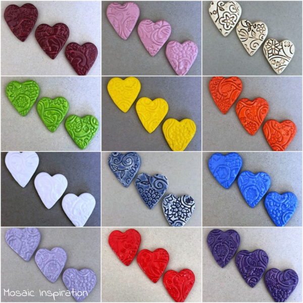 MOSAIC INSPIRATION Ceramic Hearts Ceramic Mosaic Tiles Mosaic Inserts www.mosaicinspiration.com
