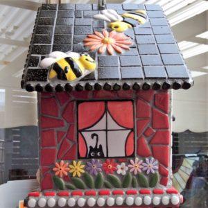 MOSAIC INSPIRATION Julies Bird House - bird, flowers, dog, tree, bee, window - www.mosaicinspiration