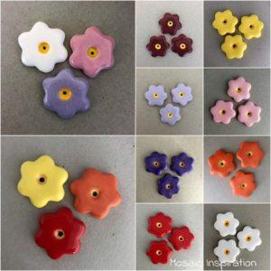 MOSAIC INSPIRATION 28mm Ceramic Flowers Ceramic Embellishments Mosaic Inserts www.mosaicinspiration.com