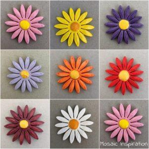 MOSAIC INSPIRATION 50mm Ceramic Daisy Ceramic Flower Ceramic Mosaic Inserts Ceramic Embellishments www.mosaicinspiration.com
