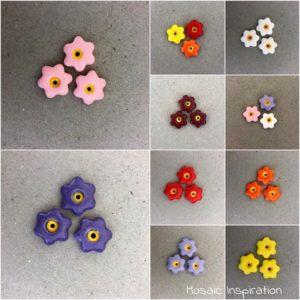 MOSAIC INSPIRATION 17mm Ceramic Flowers Ceramic Embellishments Mosaic Inserts www.mosaicinspiration.com
