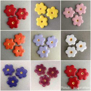 MOSAIC INSPIRATION 36mm Ceramic Flowers Ceramic Mosaic Tiles Mosaic Inserts www.mosaicinspiration.com