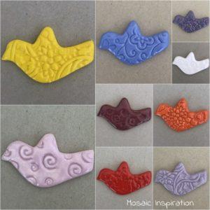 MOSAIC INSPIRATION Textured Ceramic Bird Ceramic Inserts Mosaic Tile www.mosaicinspiration.com