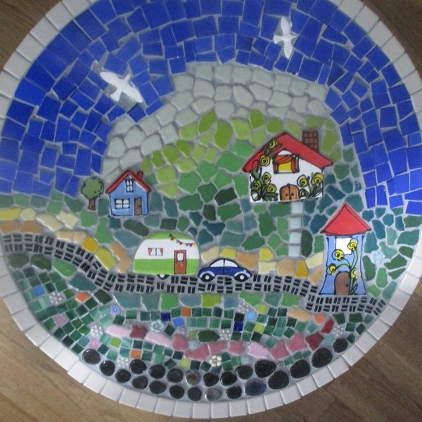 MOSAIC INSPIRATION Jos Mosaic Table Birds Houses Car Caravan Tree www.mosaicinspiration.com.au