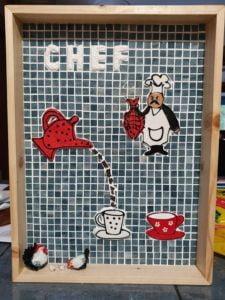 MOSAIC INSPIRATION Sandras Picture - Chef, Letters, Teapot, Mug, Cup www.mosaicinspiration.com
