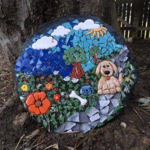 MOSAIC INSPIRATION Tracie's paver - ceramic inserts - dog, flowers - www.mosaicinspiration.com