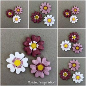 MOSAIC INSPIRATION Ceramic Cosmos Flowers Mosaic Inserts Mosaic Tiles www.mosaicinspiration.com