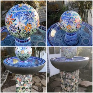 MOSAIC INSPIRATION Vickis Water Feature Flowers www.mosaicinspiration