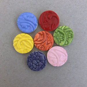 Ceramic Circles 20mm textured Ceramic Mosaic Tiles Mosaic Inserts www.mosaicinspiration.com