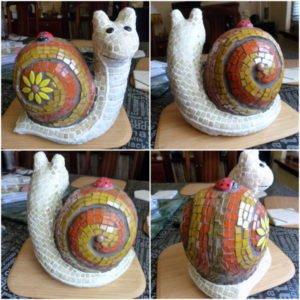 MOSAIC INSPIRATION Cheryls Snail using ceramic ladybird insert www.mosaicinspiration