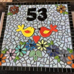 MOSAIC INSPIRATION - Mosaic Inserts - Judy's Mosaic - ceramic birds www.mosaicinspiration.com