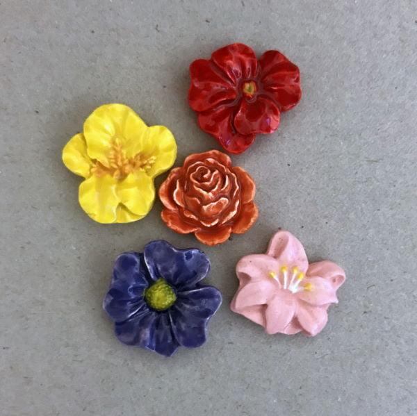 Multicoloured Ceramic Flowers Ceramic Mosaic Tiles Ceramic Inserts www.mosaicinspiration.com