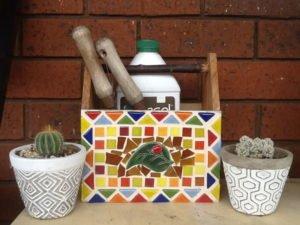 MOSAIC INSPIRATION - Jans Garden Trug - leaf with ladybird - www.mosaicinspiration.com