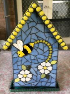MOSAIC INSPIRATION - Judy's Bird House - ceramic inserts bees flowers