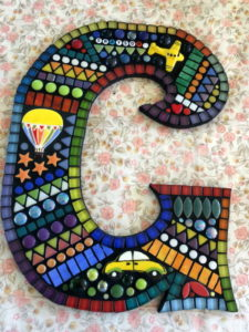 Judy's Letter G using plane, hot air balloon and car from MOSAIC INSPIRATION www.mosaicinspiration.com