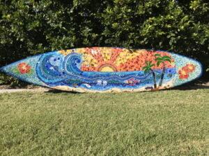 Debra's mosaic surfboard - birds dolphins VW beetle hot air balloon - MOSAIC INSPIRATION www.mosaicinspiration.com