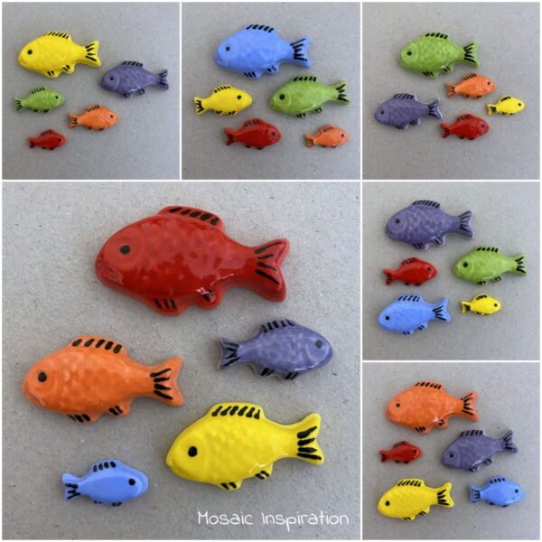 MOSAIC INSPIRATION Ceramic Rainbow Fish Ceramic Mosaic Inserts www.mosaicinspiration.com