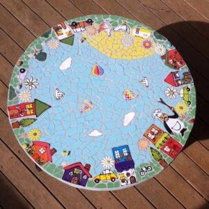 MOSAIC INSPIRATION - Marissa's Table - Houses, clouds, birds, flowers, daisies, cars, caravan, tree, bicycle, ladybirds, hot air balloons, chicken, duck, wheelbarrow - www.mosaicinspiration.com