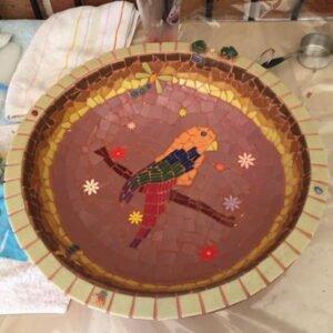Carols Bird Bath using flower ceramic inserts from MOSAIC INSPIRATION www.mosaicinspiration.com