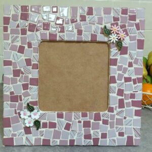 Carols Frame using flowers and leaves ceramic inserts from MOSAIC INSPIRATION www.mosaicinspiration.com