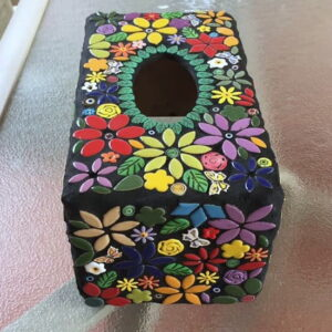 Carols Tissue Box cover using flowers and butterflies ceramic inserts from MOSAIC INSPIRATION www.mosaicinspiration.com