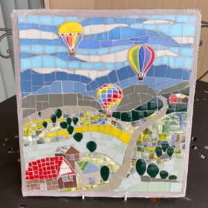 Janets Mosaic Picture - hot air balloons - MOSAIC INSPIRATION www.mosaicinspiration.com