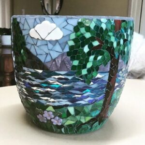 Lea's mosaic pot using flowers leaves and cloud inserts from MOSAIC INSPIRATION www.mosaicinspiration.com
