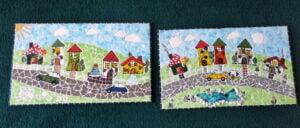 Lesley's mosaics using inserts from MOSAIC INSPIRATION www.mosaicinspiration.com