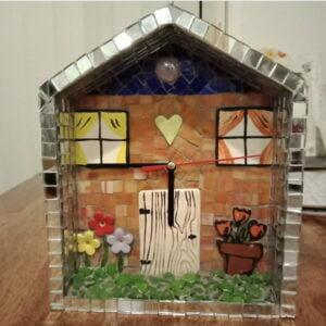 Rebecca's Clock Mosaic using windows flowers door inserts from MOSAIC INSPIRATION www.mosaicinspiration.com