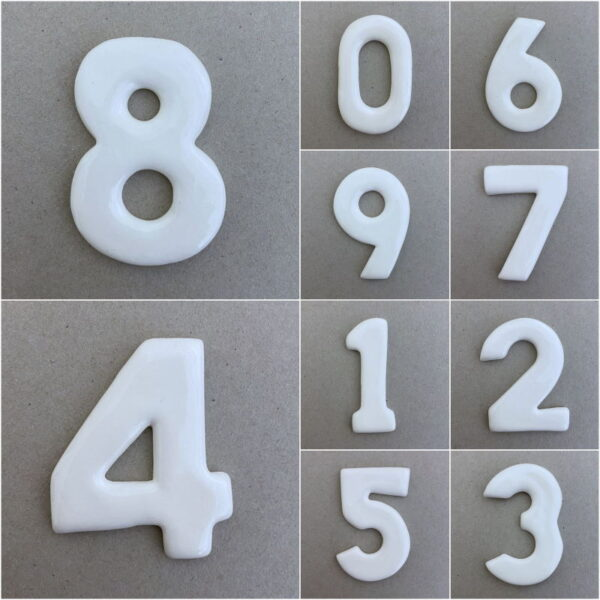 MOSAIC INSPIRATION 60mm Ceramic Number Mosaic Inserts Ceramic Embellishment Mosaic Tiles www.mosaicinspiration.com