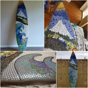 MOSAIC INSPIRATION - Vickie's Surfboard - car, house, lighthouse, bees, flowers - www.mosaicinspiration.com