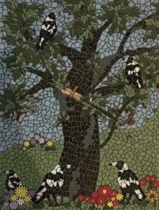 MOSAIC INSPIRATION - Julie's Tree and Magpies - flowers, leaves - www.mosaicinspiration