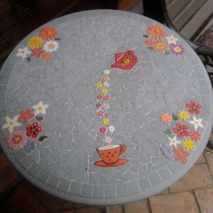 Sandra's Table - Flowers, leaves, cup, teapot - Ceramic Inserts from MOSAIC INSPIRATION www.mosaicinspiration.com