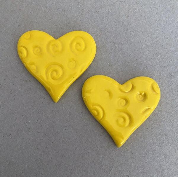 Textured Ceramic Hearts Mosaic Insert Ceramic Inserts MOSAIC INSPIRATION www.mosaicinspiration.com