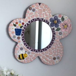 Mary's Mirror using flower, bee, leaf ceramic inserts from MOSAIC INSPIRATION www.mosaicinspiration.com