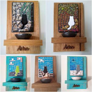 Sarah's Wall Sconce using ceramic cat, bird, heart inserts from MOSAIC INSPIRATION