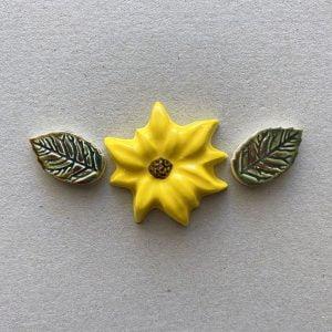 MOSAIC INSPIRATION Ceramic Sunflower and Leaves Mosaic Inserts Ceramic Inserts Mosaic Tiles www.mosaicinspiration.com